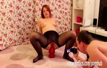 Redhead German teen rides HUGE red toy