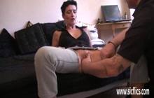 Short haired mature gets pussy stretched