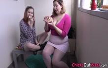 Buxom amateur lesbian gets fisted